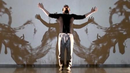 Benjiamino Borghi adopts the pose of a digital angel during a TaikaBox workshop